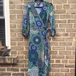 dotty, Boho Wrap Dress, Maxi, Sz M